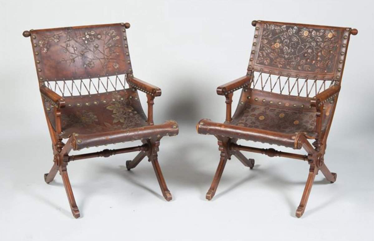 A Fine & Rare Pair Of Aesthetic Movement Carved Walnut & Embossed & Gilt-Leather Armchairs
