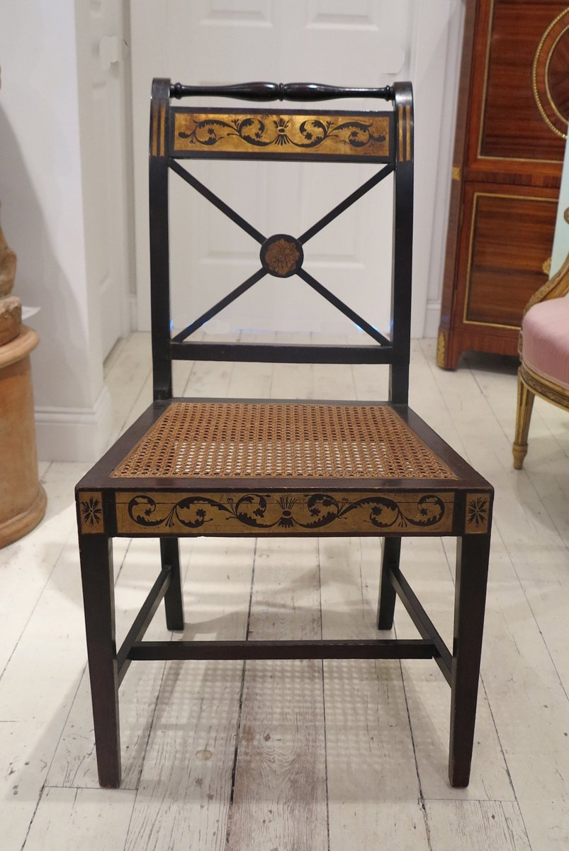 An American Federal Painted and Parcel Gilt Side Chair (Seymour School)
