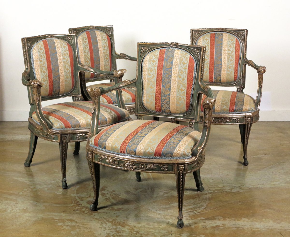 A Fine Set Of Four South Italian Green-Painted & Parcel-Silvered Armchairs