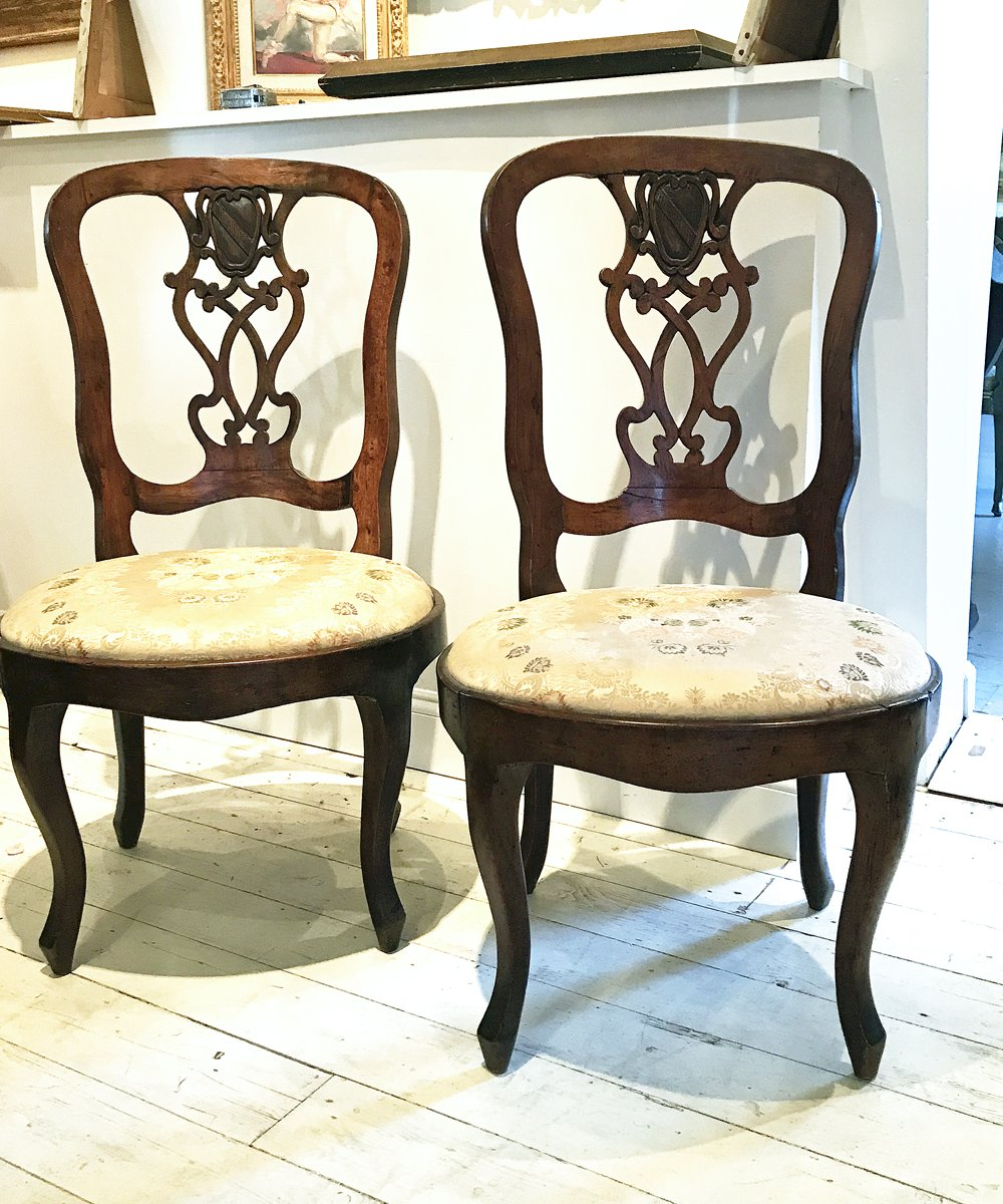 A Pair of Northern Italian Walnut Sidechairs