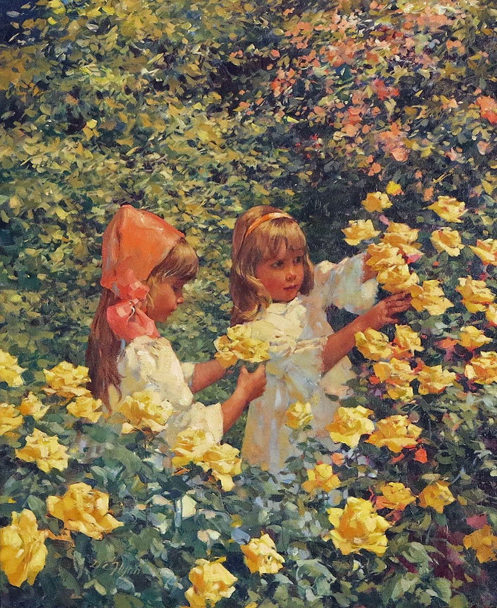 Two Young Girls in a Flowering Field