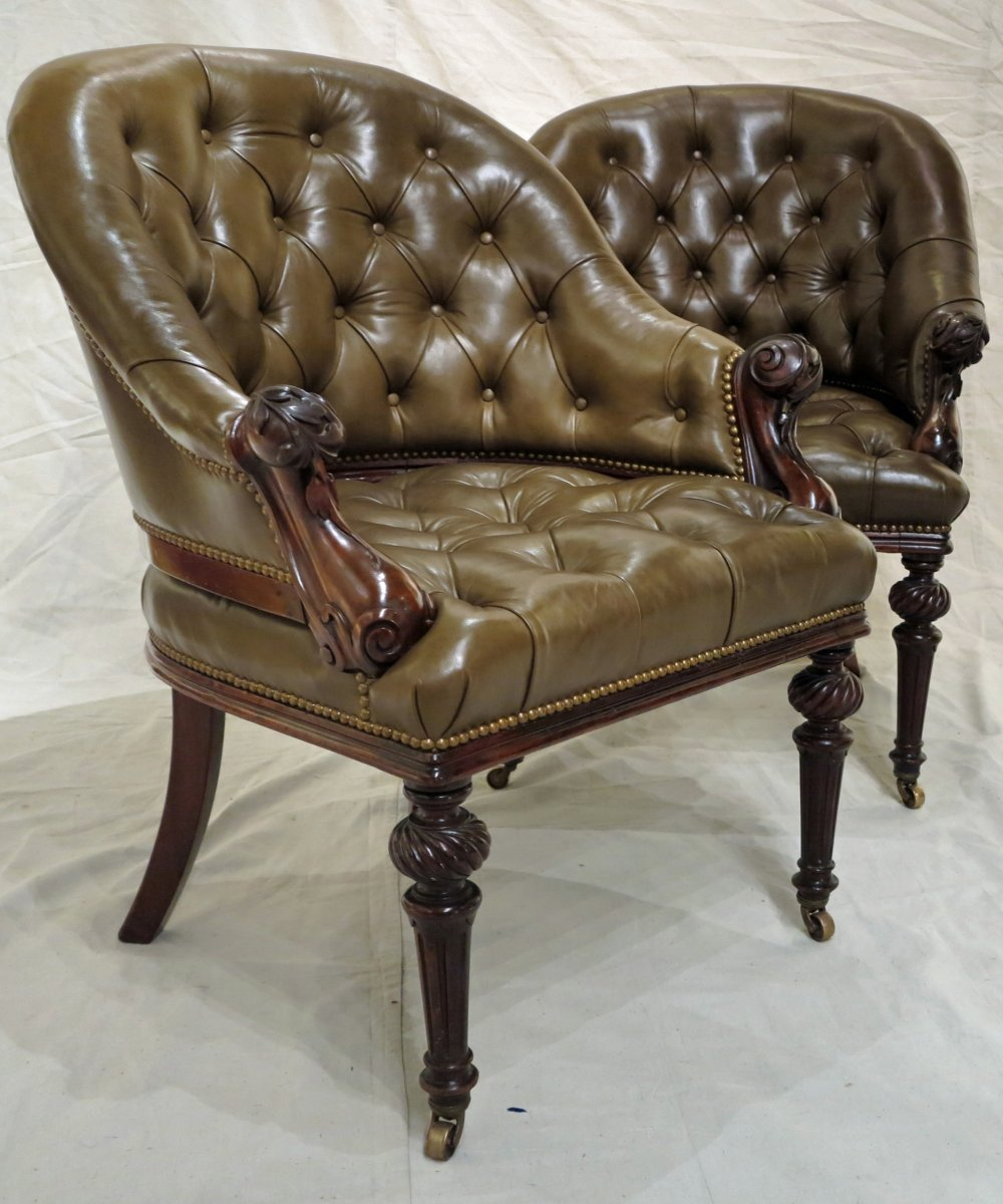 An Exceptional & Rare Pair of Mahogany Armchairs