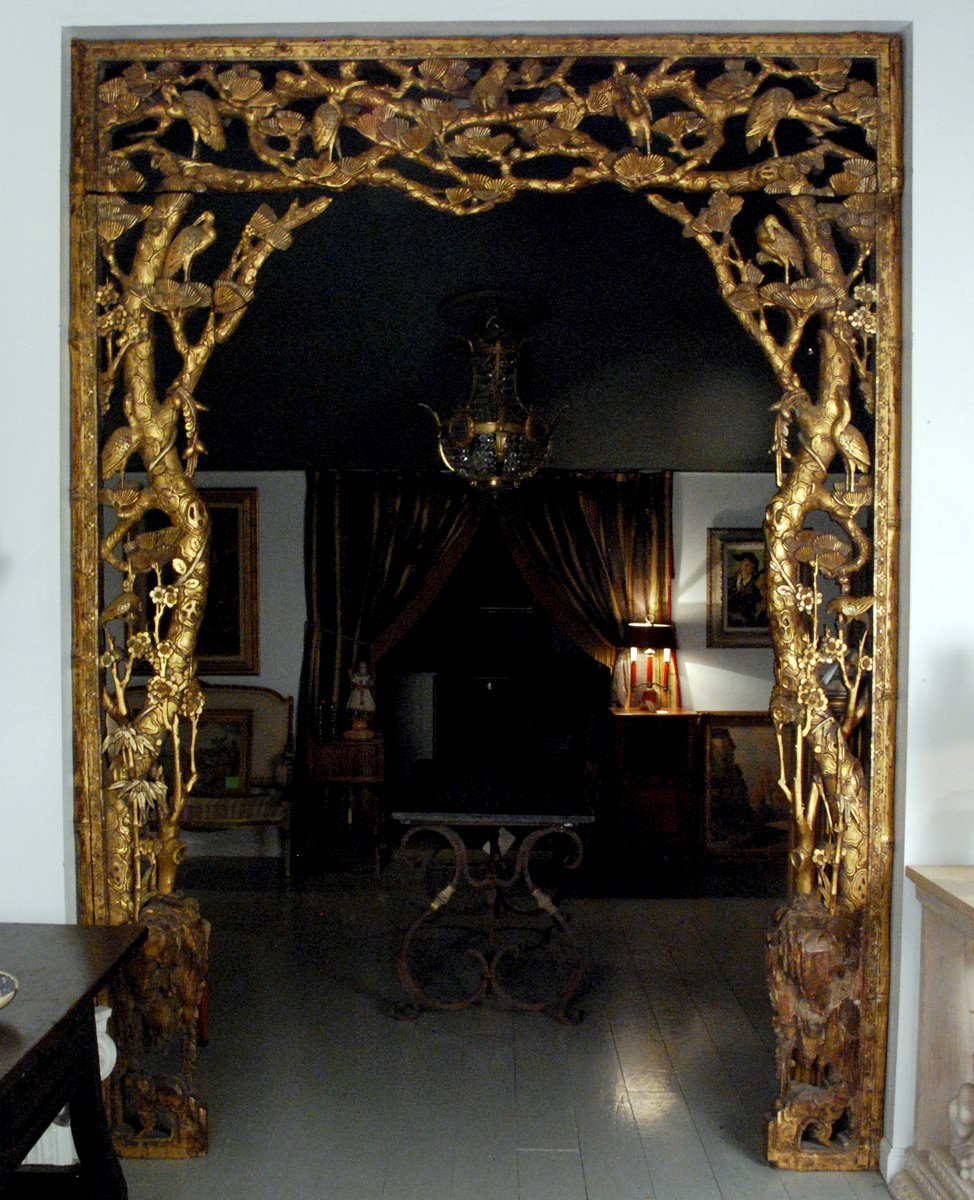 An Important Architectural  Carved Giltwood Room Surround