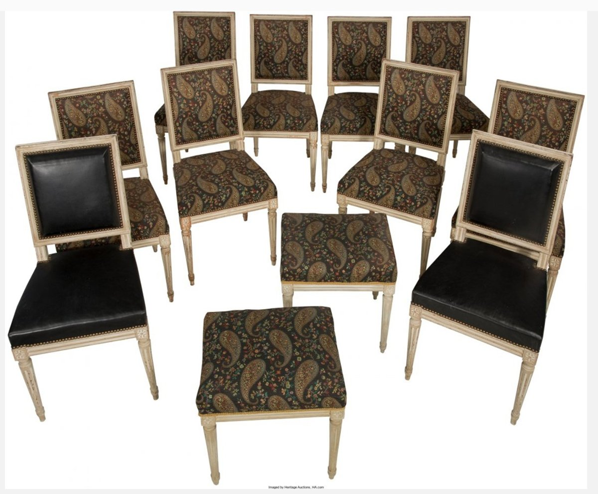 A Set of Ten Louis XVI Style Creme Peinte Side Chairs/ Dining Chairs