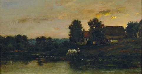 River scene with Figure and Horse