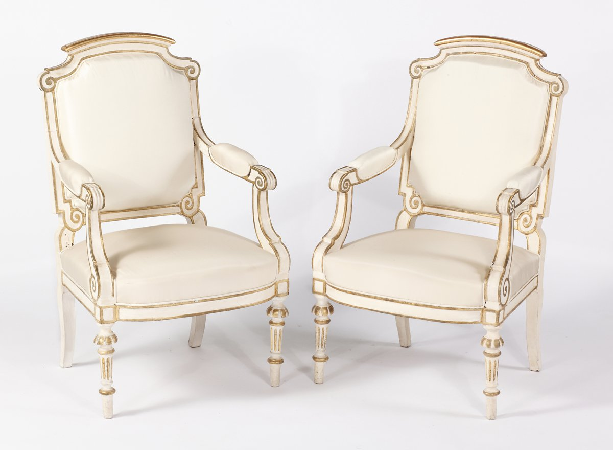 A Pair of Italian Painted & Parcel Gilt Fauteuils