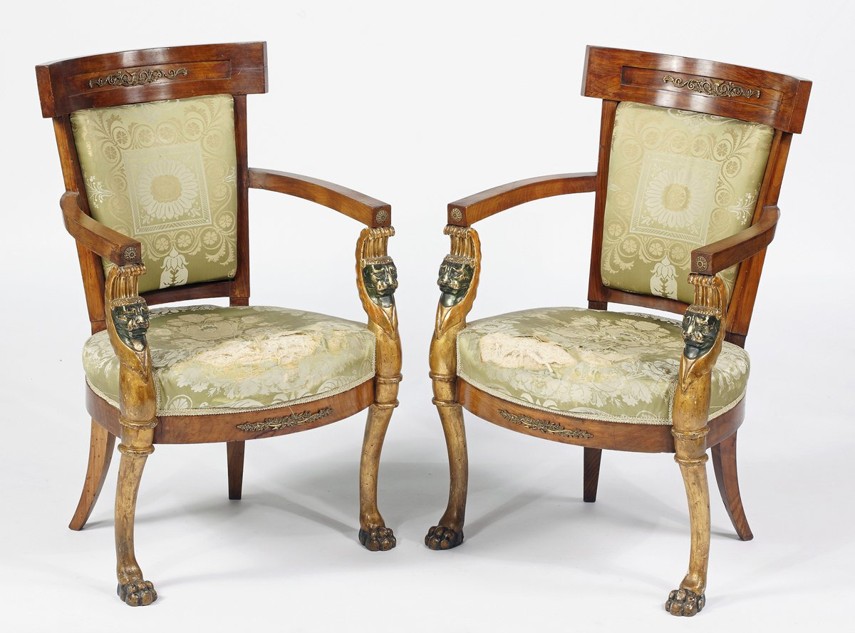 A Rare Pair of Italian Ormolu Mounted  Green Painted & Parcel Gilt  Fruitwood Open Armchairs