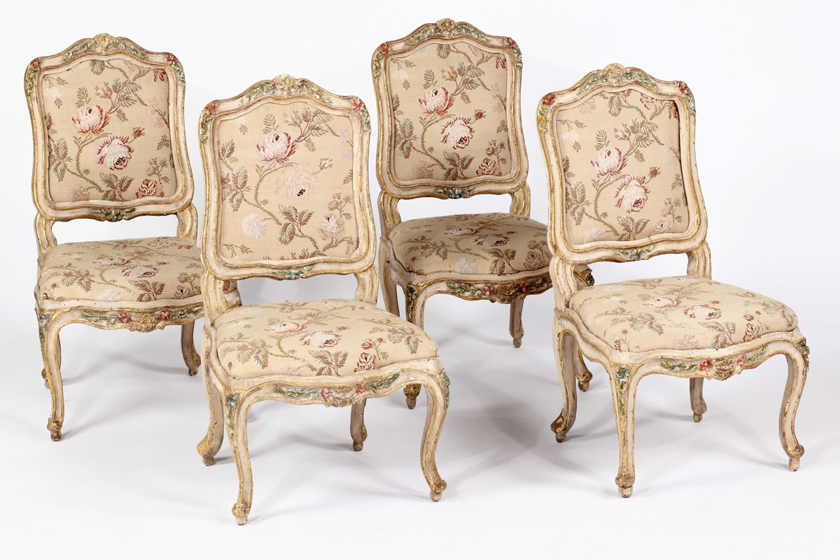 A Rare Set of Four Louis XV Painted & Parcel Gilt Side Chairs Stamped Tillard