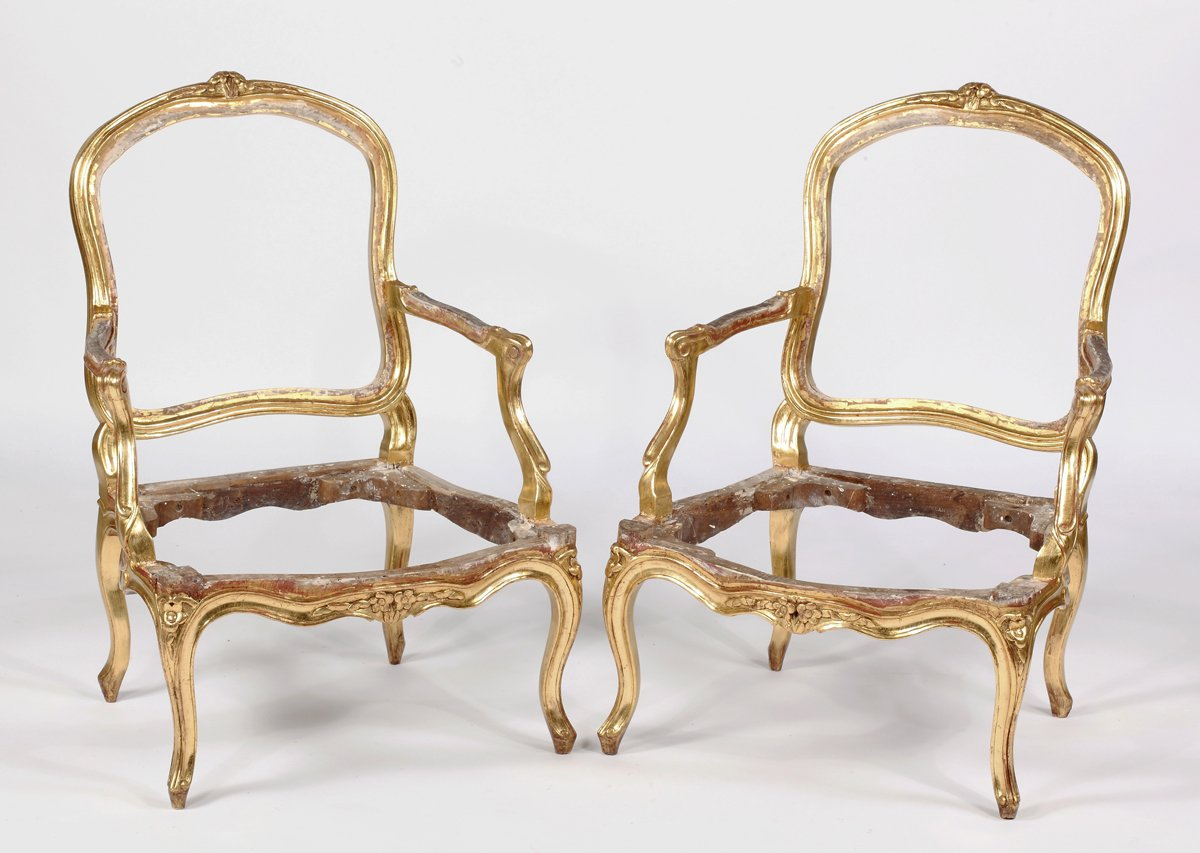 A Fine Pair of Louis XV Giltwood Fauteuils By Louis Delanois