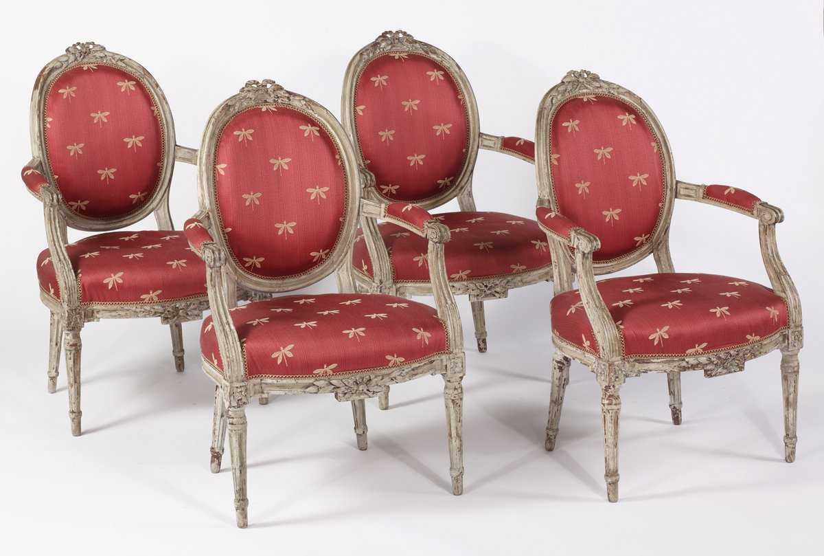 A Set of Four Louis XVI Painted Fauteuils a la Reine