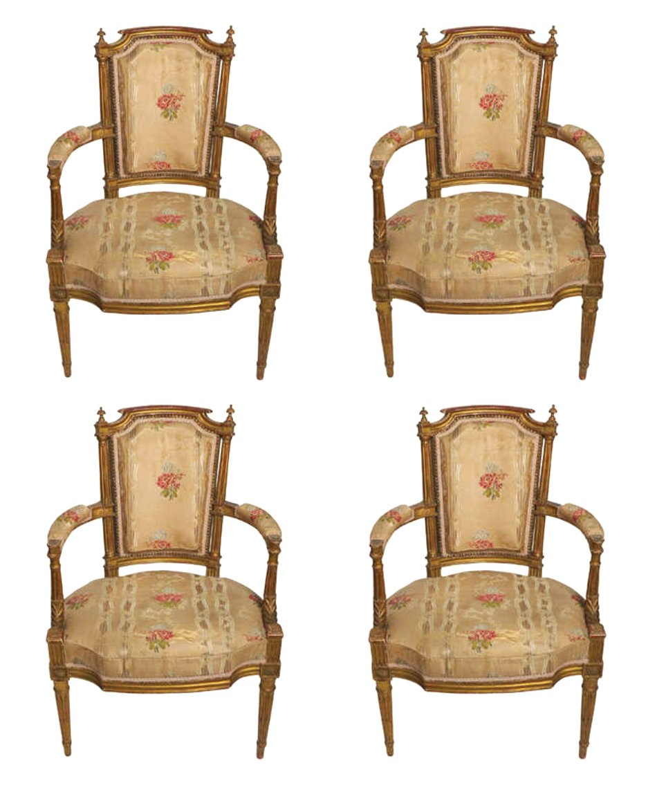 A Fine Set of Four Louis XVI Giltwood Fauteuils By Georges Jacob