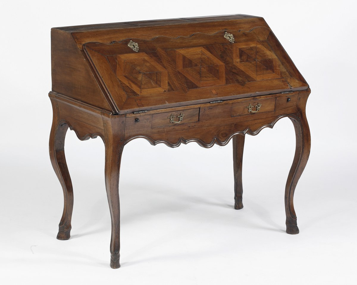 A Rare Louis XV Walnut & Parquetry  Slant Front Desk on Cabriole Legs