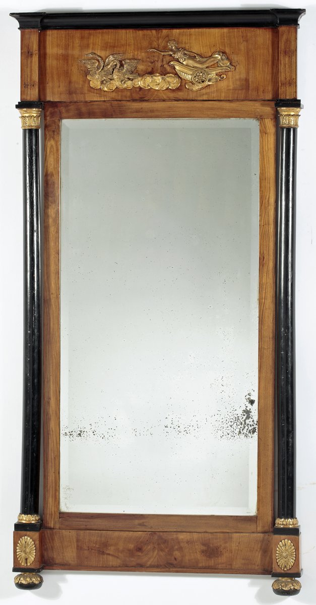 A Fruitwood & Ebonized Parcel Gilt  Neoclassical Pier Mirror