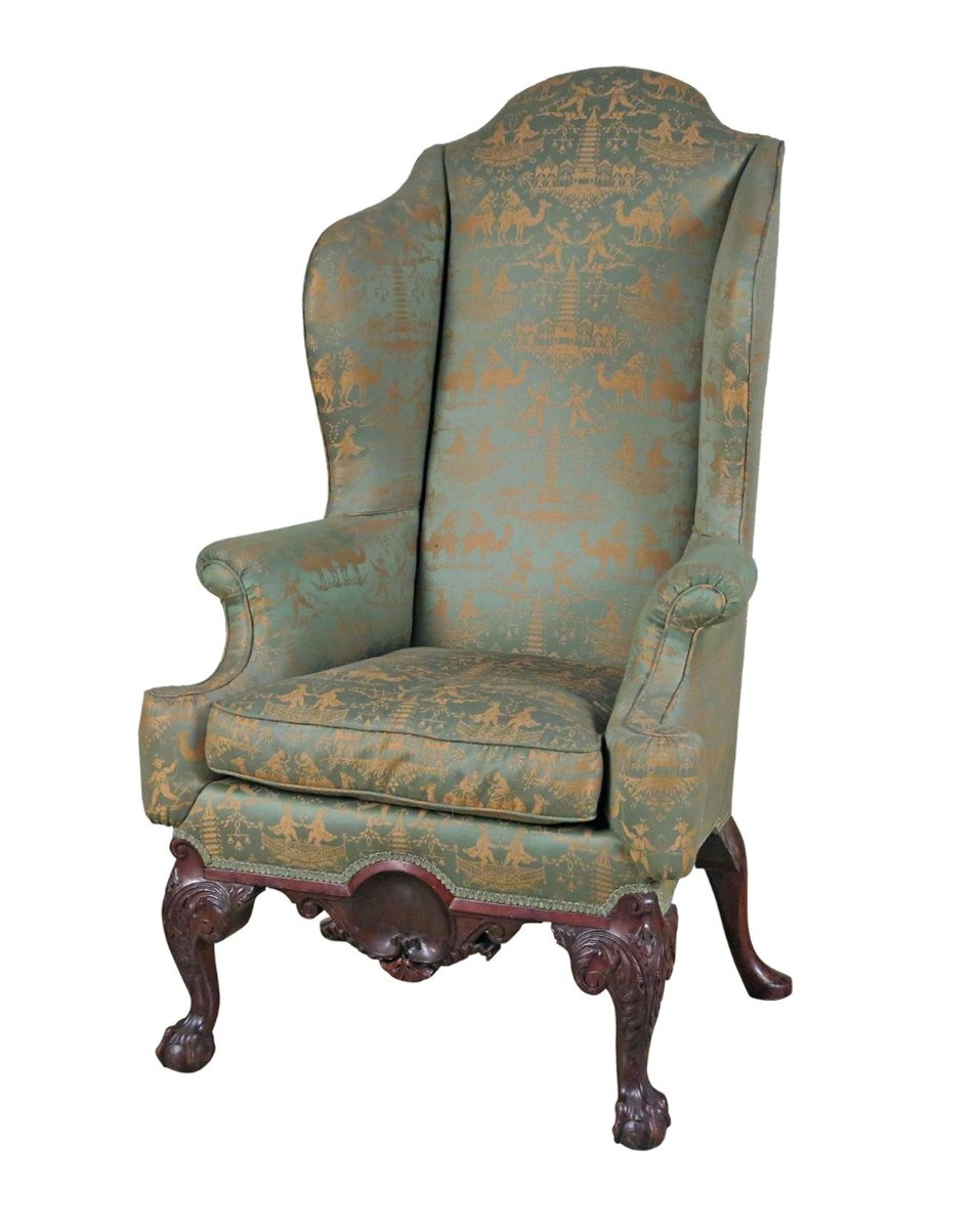 A Chippendale Style Mahogany  Wing Back Chair Possibly Philadelphia