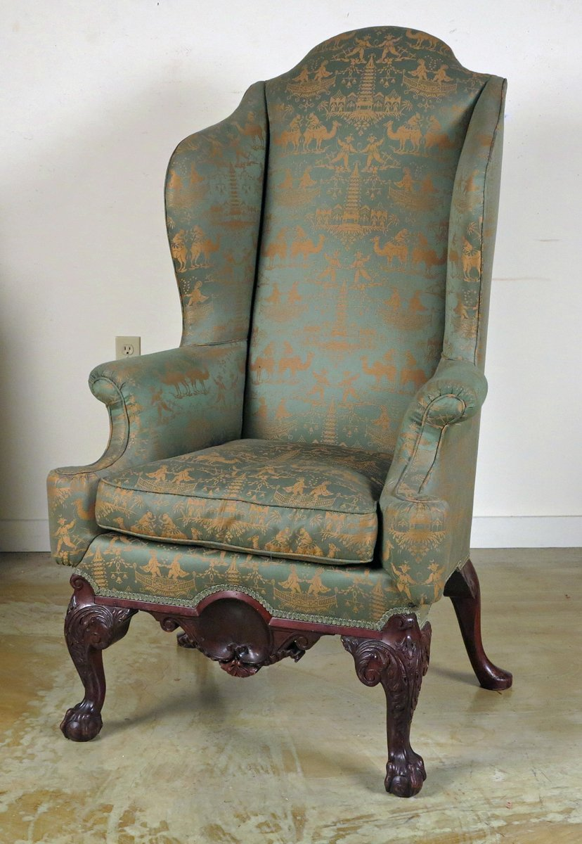Ordinaire A Chippendale Style Mahogany Wing Back Chair Possibly Philadelphia