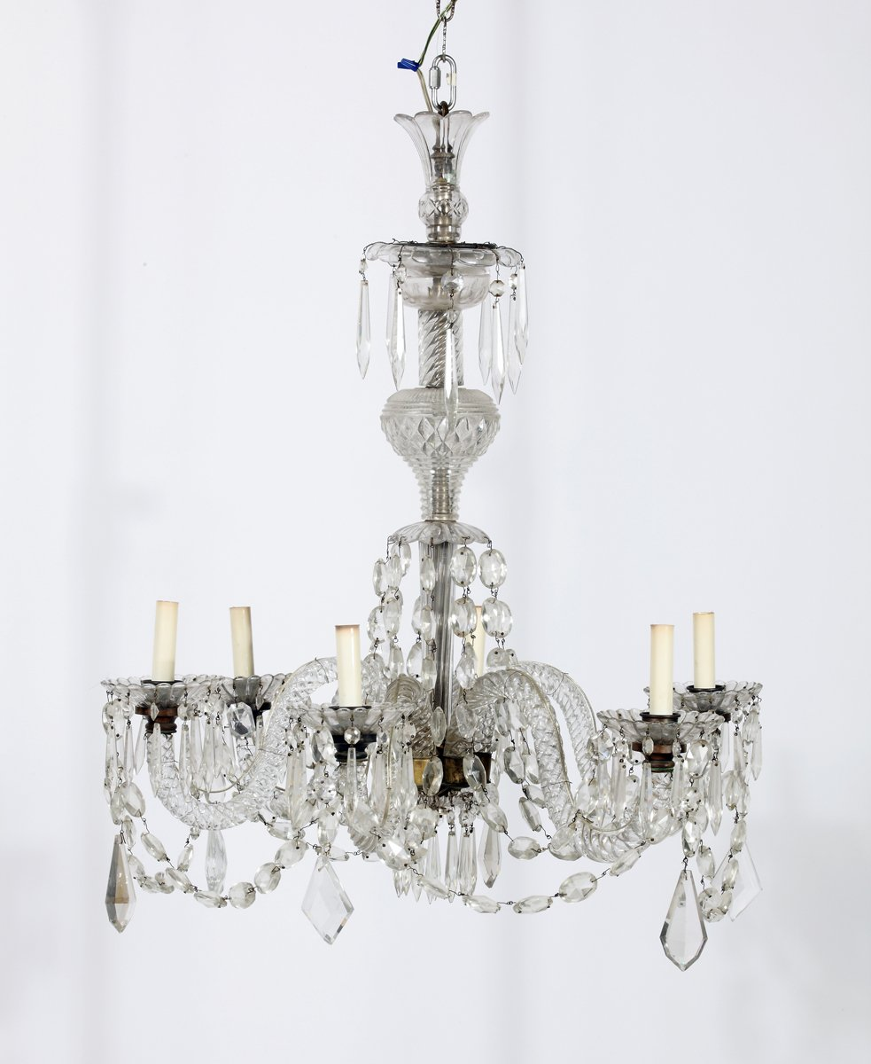 Georgian Chandelier: A Fine Georgian Crystal & Brass Six Light Chandelier