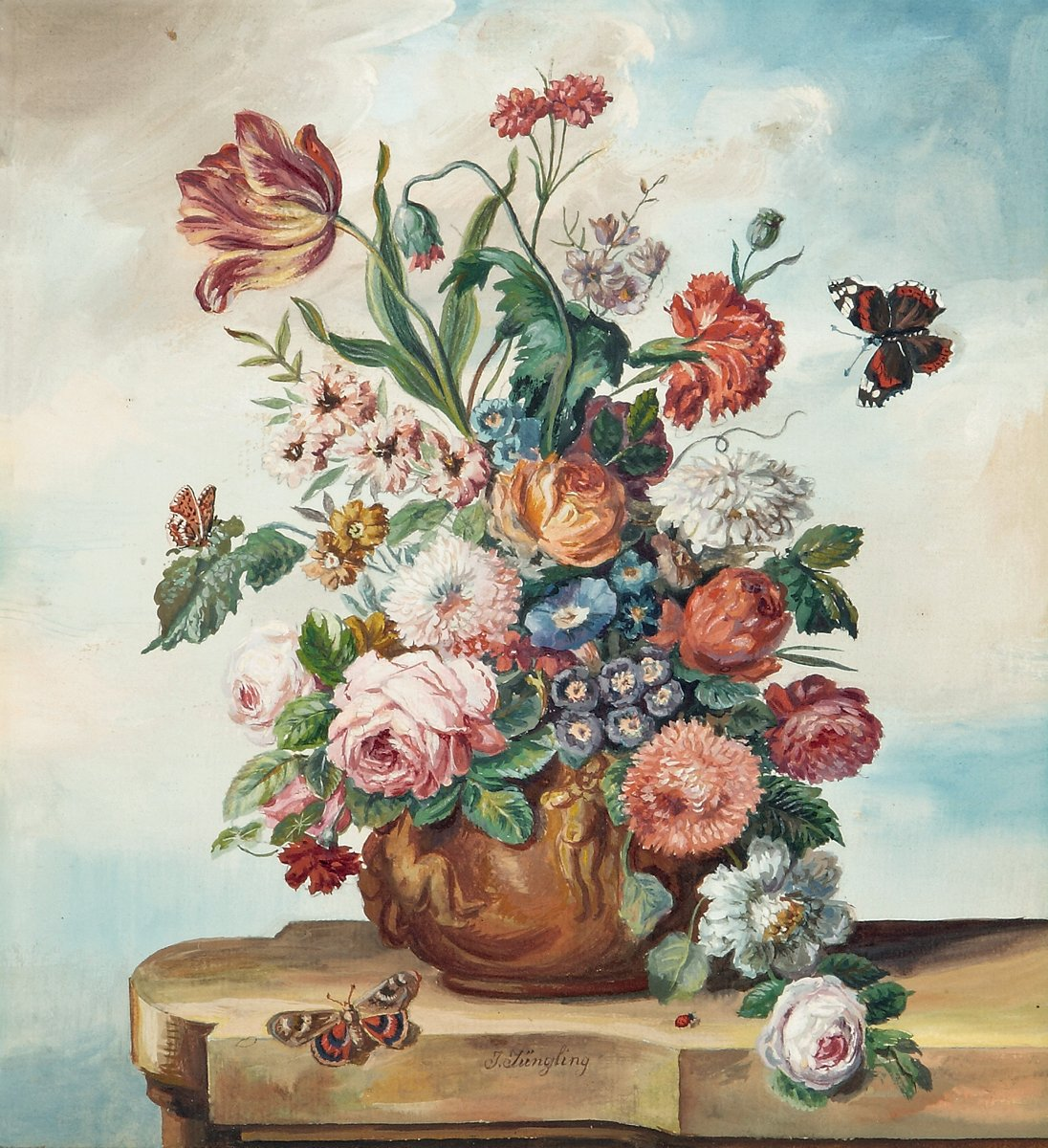 A Floral Still Life on a Ledge with Butterflies