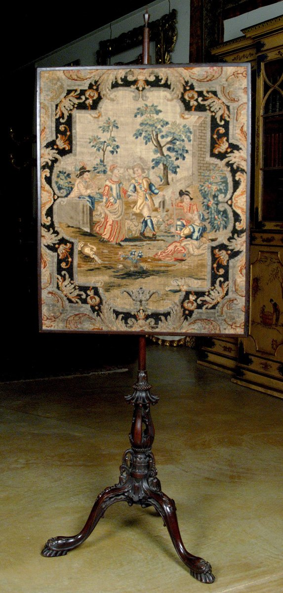 A Fine George III Needle Work Pole Screen