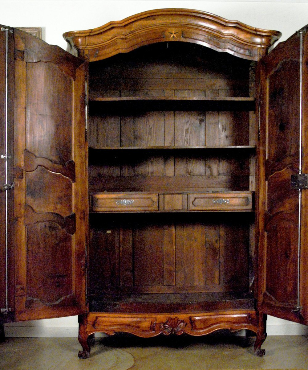 An Important Louis XV Walnut U0026 Inlaid Armoire