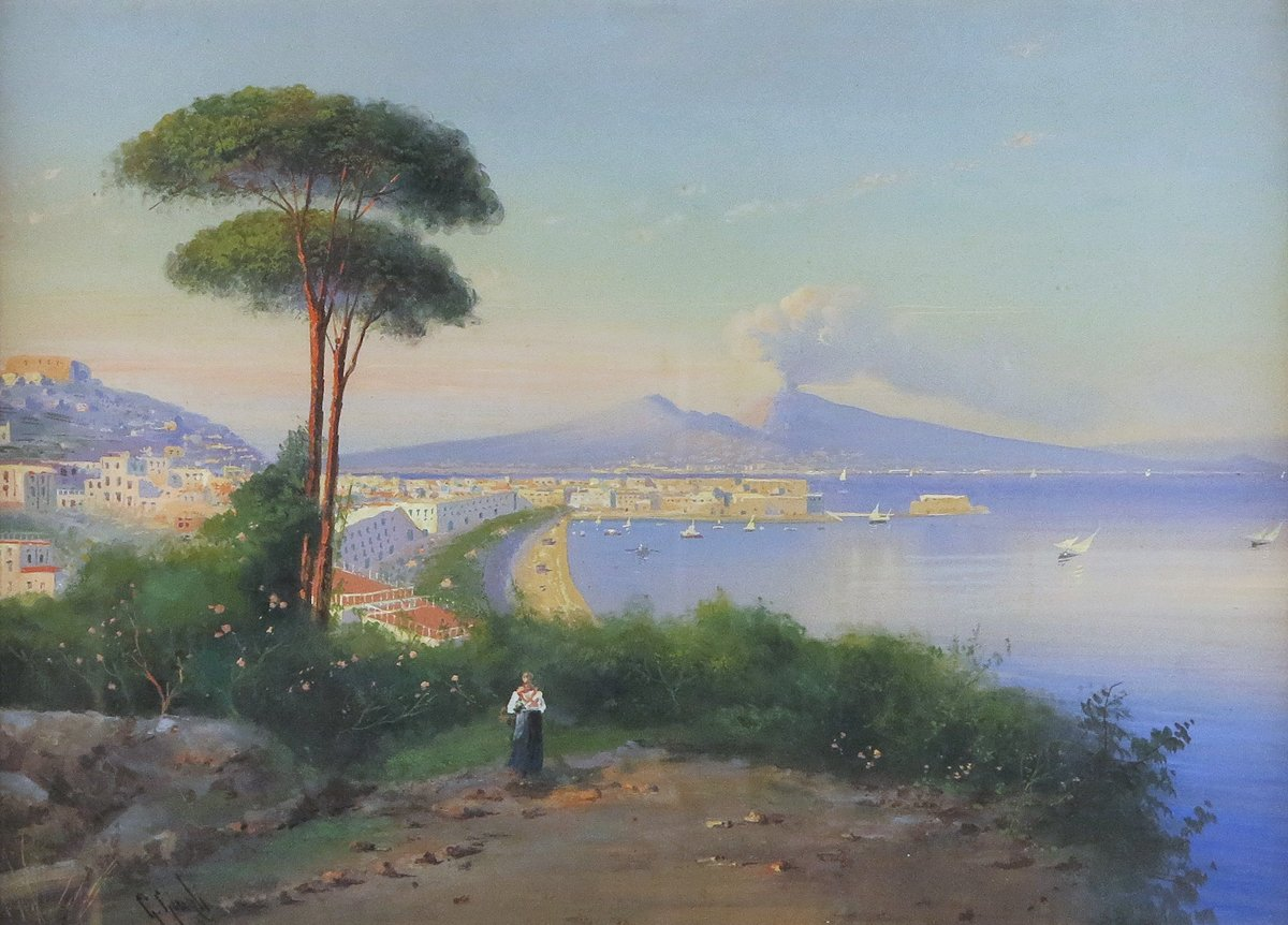 Distant View Above the Bay of Naples, Vesuvius beyond
