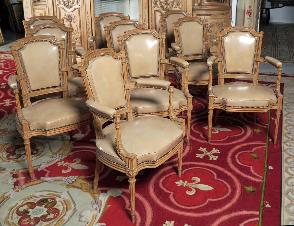 A Fine Set Of Ten Louis XVI Style Beechwood Armchairs In The Manner Of  George Jacob